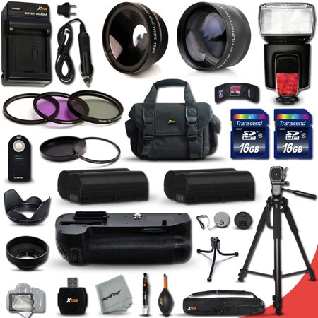 Mega Pro 34 Piece Accessory Kit for Nikon D7000 DSLR Camera Includes High Definition 2X Telephoto Lens + High Definition Wide Angle Lens + Multi Power Battery Grip + 2 High Capacity EN-EL15 ENEL15 (Best Wide Angle Lens For D7000)