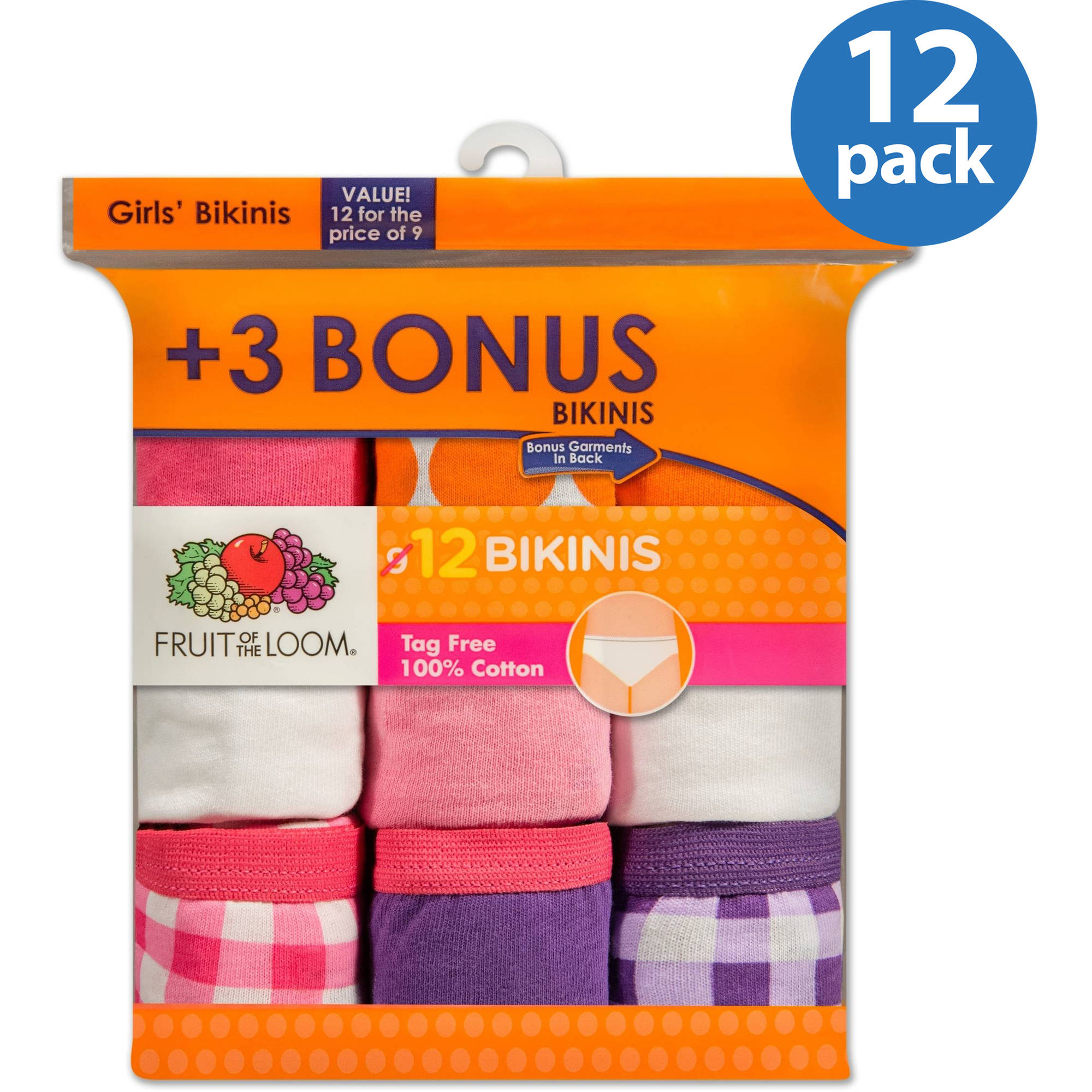 Fruit of the Loom Girls' 100% Cotton Bikini Panty, 9+3 Bonus Pack