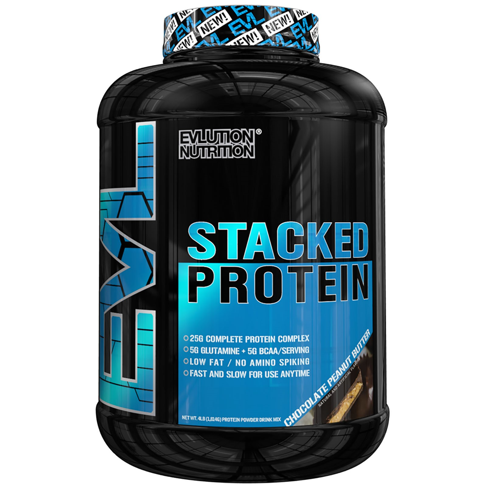 Evlution Nutrition Stacked Protein Powder, Chocolate Peanut Butter, 4 Lb