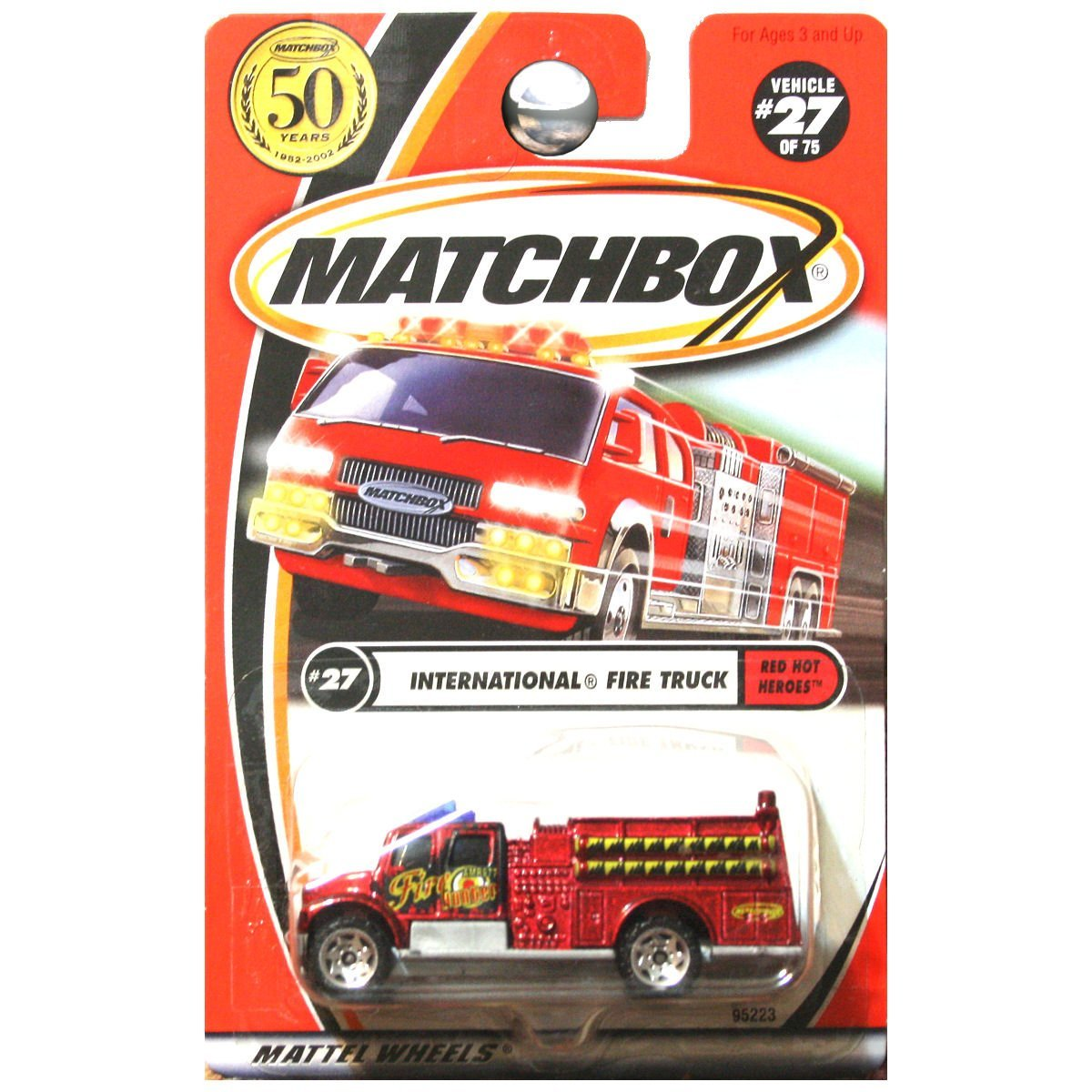 2002 Red Hot Heroes International Fire Truck Engine Red Metallic #27, By Matchbox by