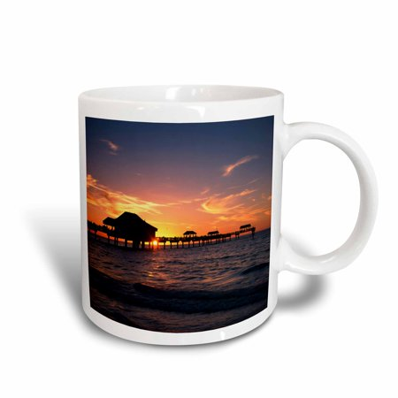 3dRose Clearwater beach and pier at sunset, Florida, USA - US10 AJE0290 - Adam Jones, Ceramic Mug, 11-ounce