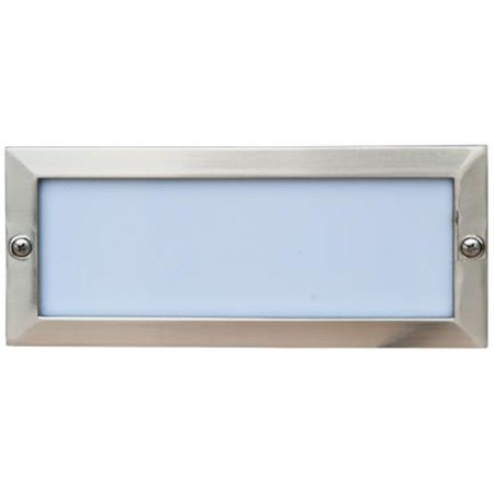 Dabmar Lighting LV602-SS Cast Aluminum Recessed Open Face Brick, Step & Wall Light, Electro-Plated Stainless Steel - 4 x 9.13 x 3.25 in.