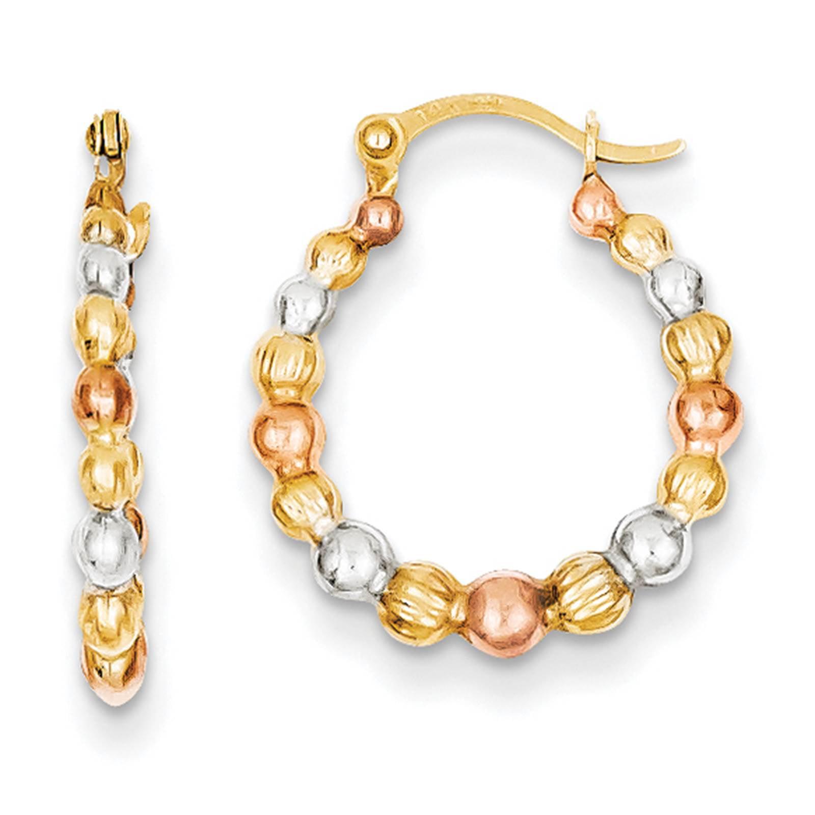 14k Yellow Gold /& Rhodium Heart Hollow Hinged Post Hoop Earrings 12mm x 2mm