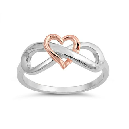 Two Tone Sterling Silver Rose Gold-Tone Heart Infinity Ring Bezel Two Tone Ring