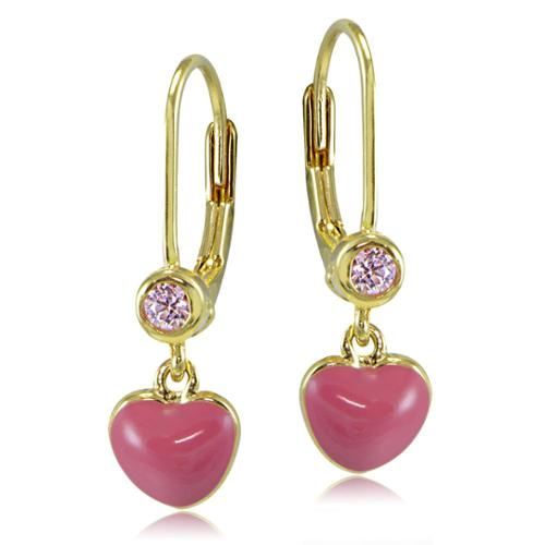 ICZ Stonez 18k Gold over Silver Enamel and Pink Cubic Zirconia Dangling Heart Children's Leverback Earrings Pink