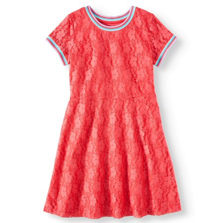 Rainbow Trim Lace Dress (Little Girls, Big Girls & Big Girls Plus)