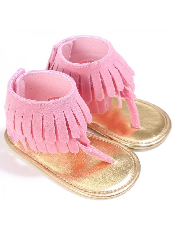 Tommyfit Infant Baby Girls Tassel Sandal Summer Shoes Anti-slip Newborn Prewalker 0-18 Months