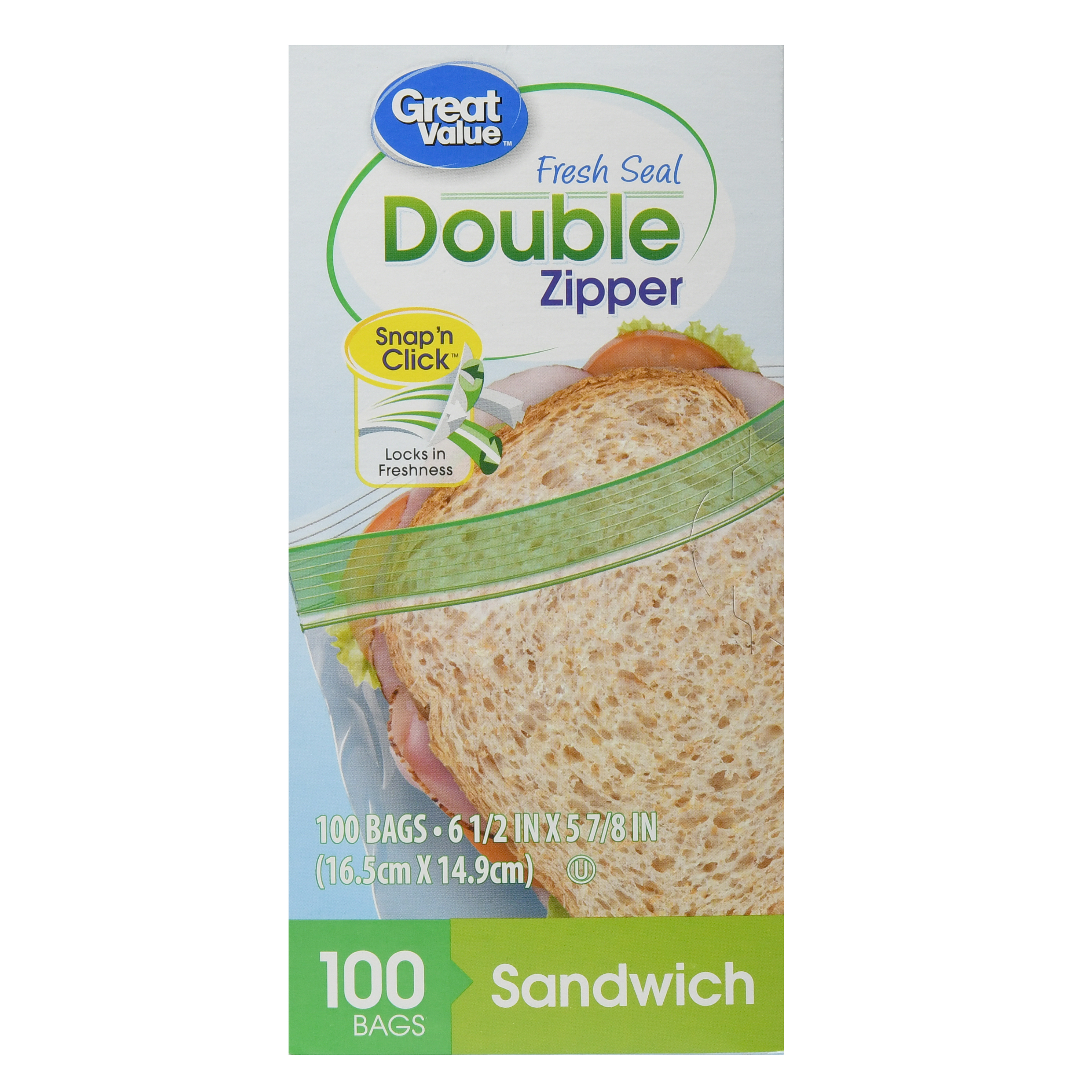 Great value Double Zipper Food Storage Bags, Sandwich, 100 Count