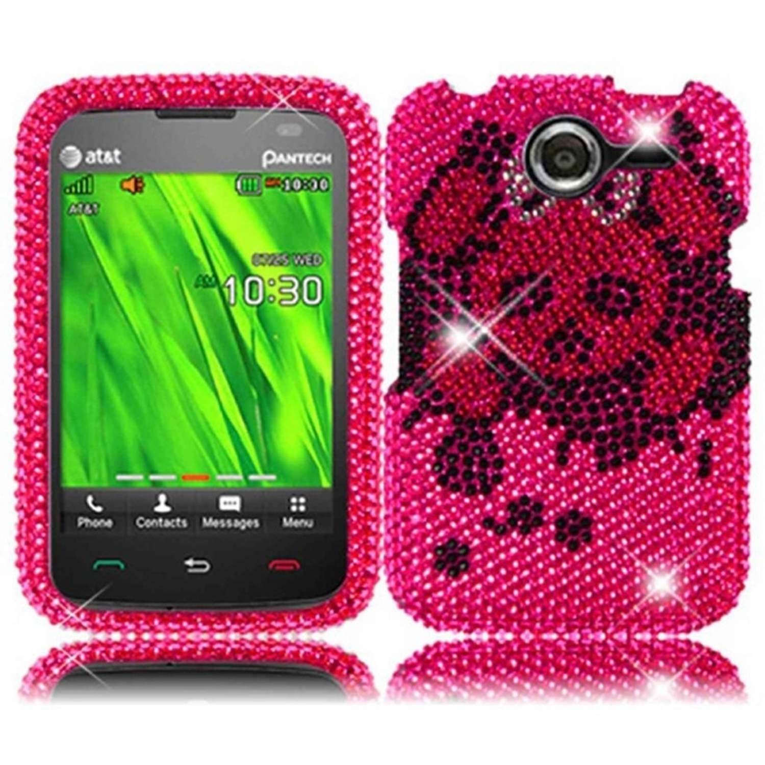 Insten For Pantech Renue P6030(AT&T) Full Diamond Case Pink Skull