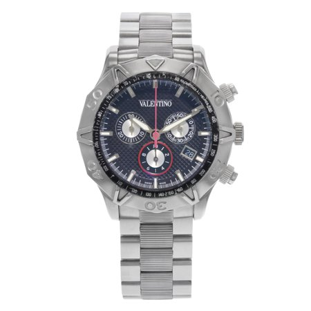 Pre-Owned Valentino Chronograph Black Dial Steel Quartz Mens Watch (Valentino Mens Watch)