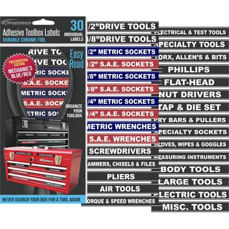 Craftsman Tool Organizer (Steellabels - Tool Box Organizer Labels - Tough Foil adhesive decals for all toolboxes Craftsman, Snap-On, & Cornwell, Husky, Stack On & more - stainless, aluminum, plastic & steel (Blue) )