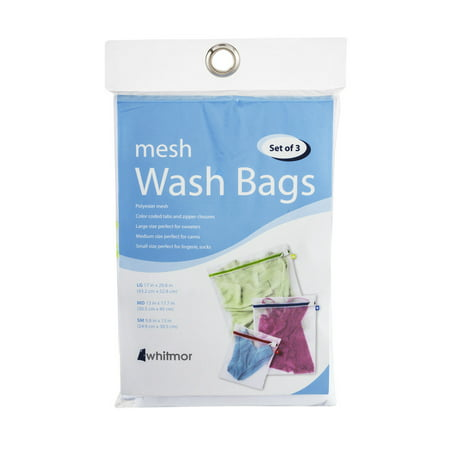 Large Wash Bag (Whitmor Color Coded Mesh Wash Bags White Set of 3 )
