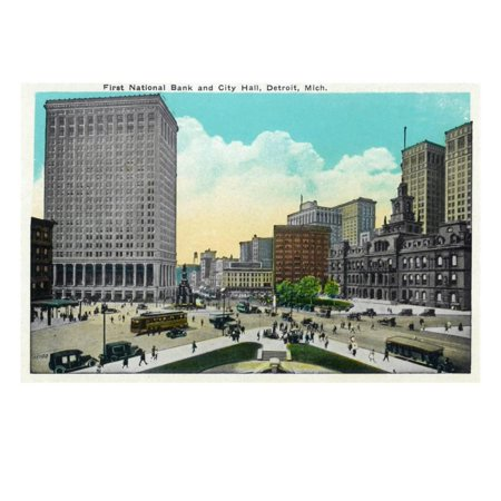 Detroit  Michigan   First National Bank  City Hall Exterior Art Print By Lantern Press