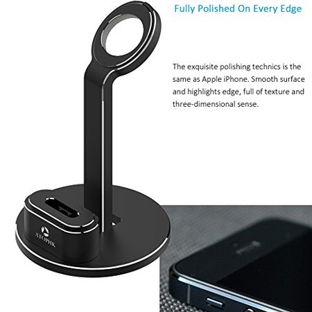 ATOPHK 2 in 1 Aluminum Stand Charging Dock Station Compatible for Airpods Wireless Bluetooth Headphone Apple iWatch (38mm 42mm) Nightstand Mode (102-Black) - image 1 de 2