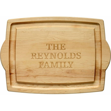 Brown Deluxe Board - Personalized Oversized Wood Carving Board, 3-Line Message or Initial