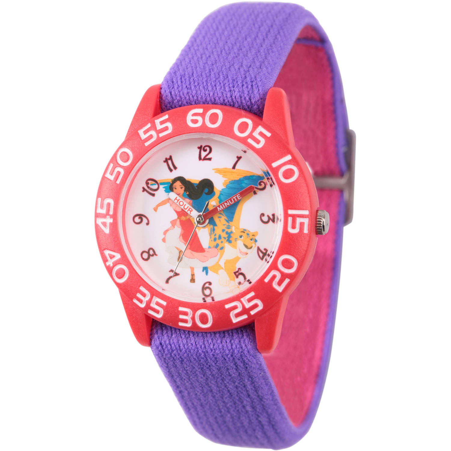 Elena of Avalor and Skylar Girls' Red Plastic Time Teacher Watch, Reversible Purple and Pink Nylon Strap