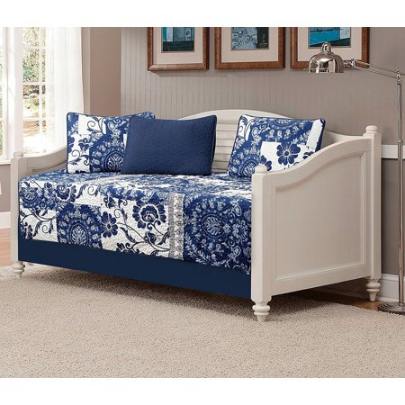Floral Daybed - Fancy Linen 5pc Daybed Quilted Floral White Navy Blue New