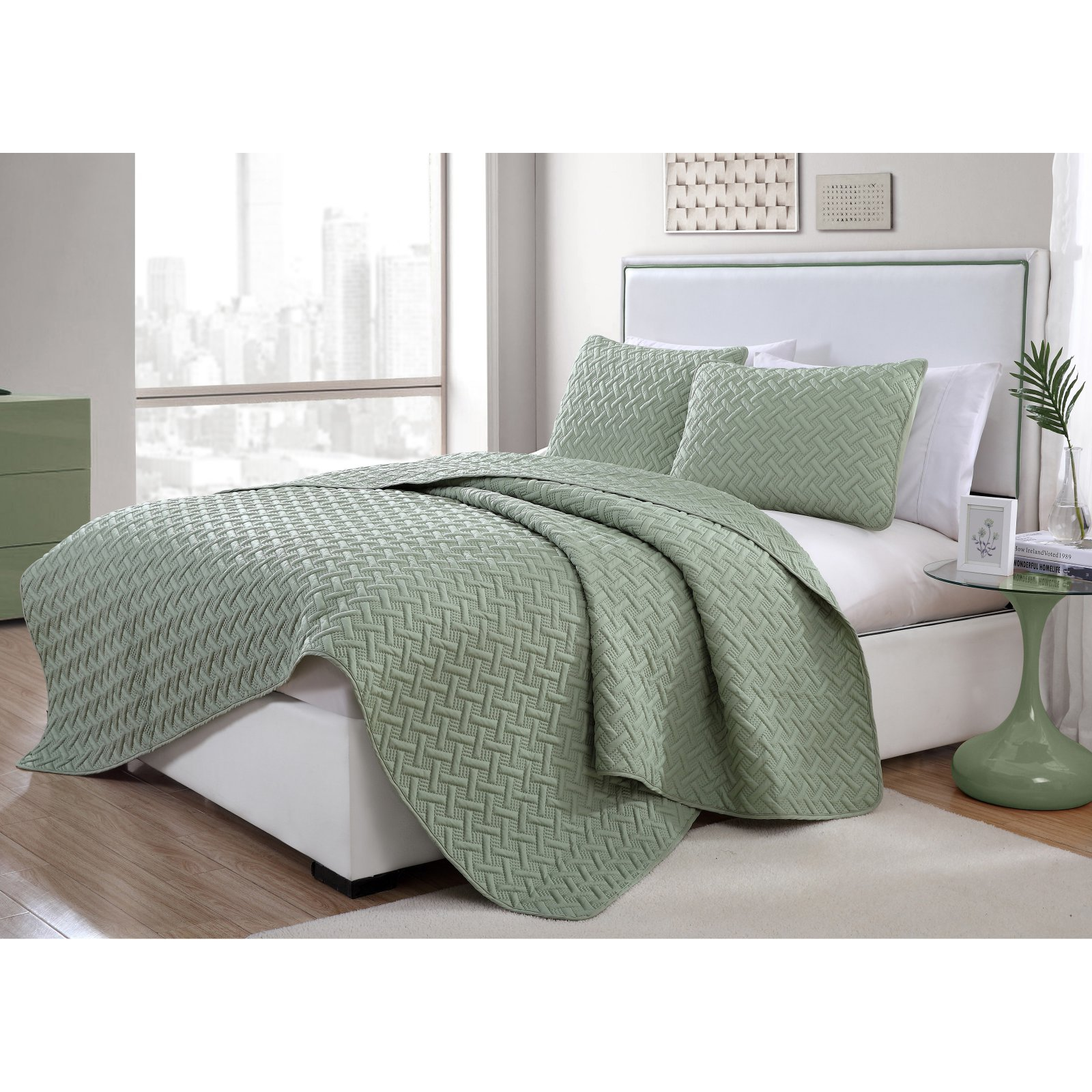 Nina 2/3 Piece Textured Embossed Quilt Set, Multiple Sizes and Colors Available