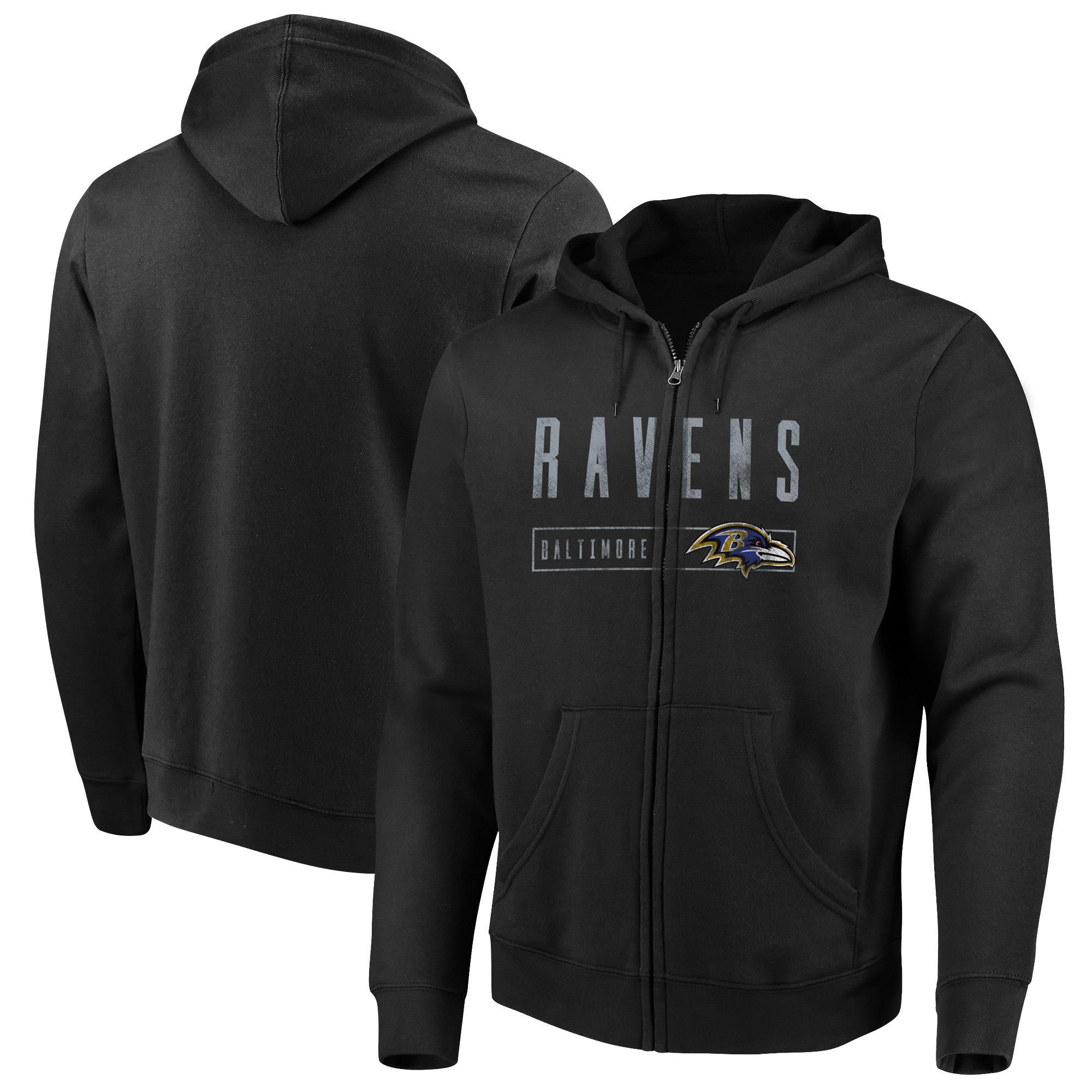Baltimore Ravens Majestic Hyper Stack Full-Zip Hoodie - Black