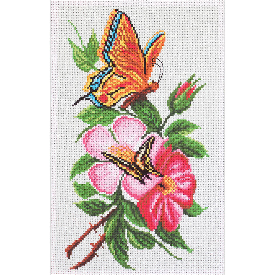 Collection D'Art Stamped Cross Stitch Kit, 28cm x 37cm, Butterfly On Flower