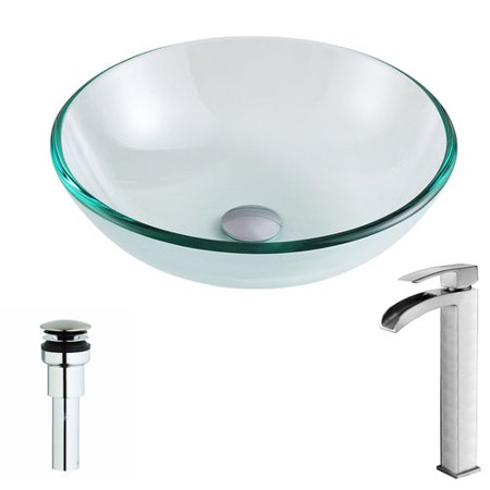 ANZZI Etude Glass Circular Vessel Bathroom Sink with Faucet