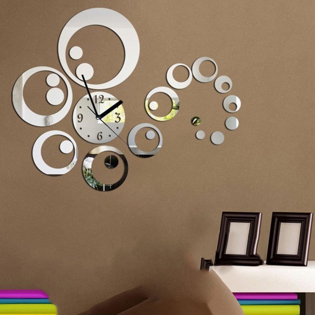 23 Pcs Set Home Decor Mirror Wall Stickers Clock Living Room Wall Clock by konxa