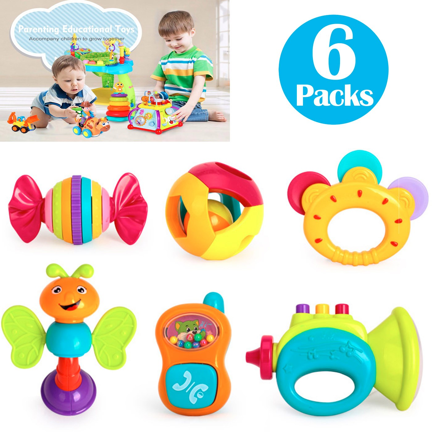 6 Baby Rattles Teether, Ball Shaker, Grab and Spin Rattle, Musical Toy Gift Set for Baby Infant, Newborn