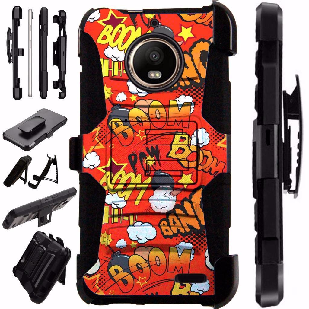 For Motorola Moto E4 Case / Moto E 4 Case Armor Hybrid Case Silicone Cover Kick Stand LuxGuard Holster (Comic Boom Red)