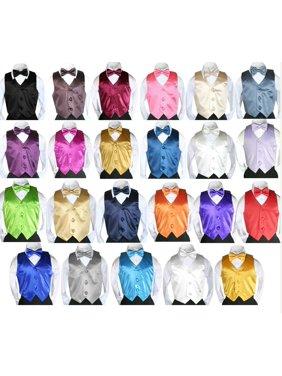Formal Wedding Color Satin Bow tie & Vest set Only Boy Baby Toddler Kids SM-7