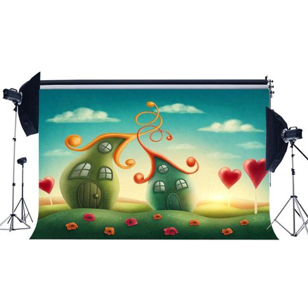 ABPHOTO Polyester 7x5ft Fairytale Backdrop Dreamy House Red Heart Lollipops Backdrops Green Grass Meadow Flowers Photography Background for Sweet Baby Shower Girls Birthday Party Photo Studio Props