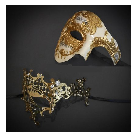 His & Hers Couple Phantom of the Opera Masquerade Masks Set Gold Couple Masks - His And Her Halloween Costumes