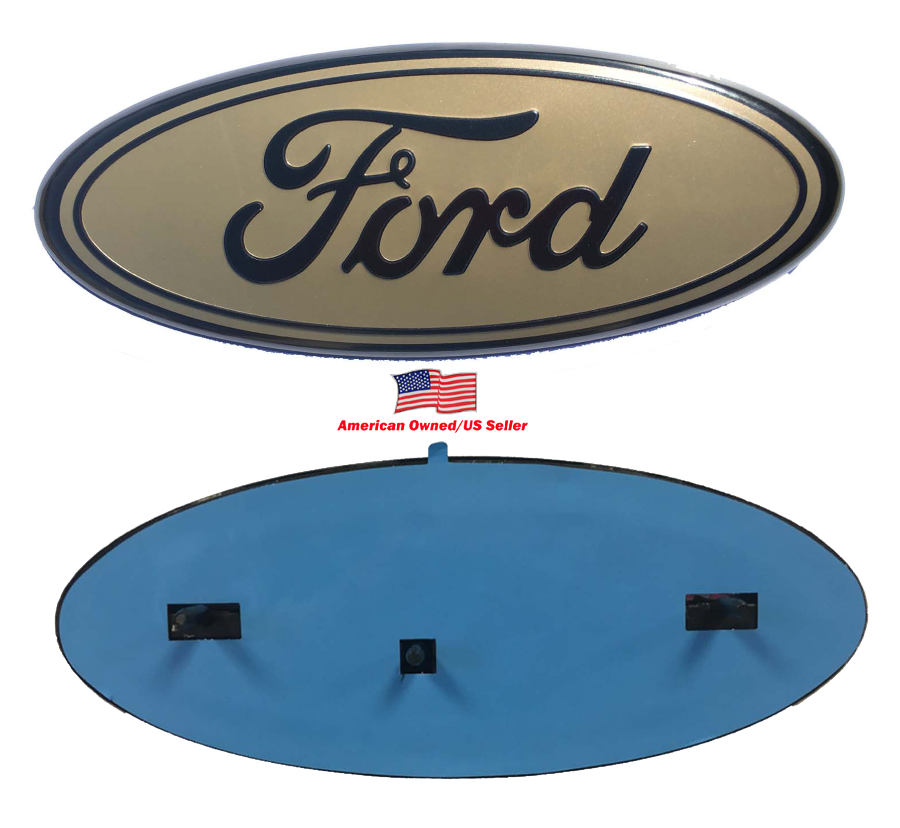 """2005-2014 Ford F150 GOLD BLACK Oval 9"""" X 3.5"""" Front Grille Replacement Badge Emblem Medallion Name Plate"""