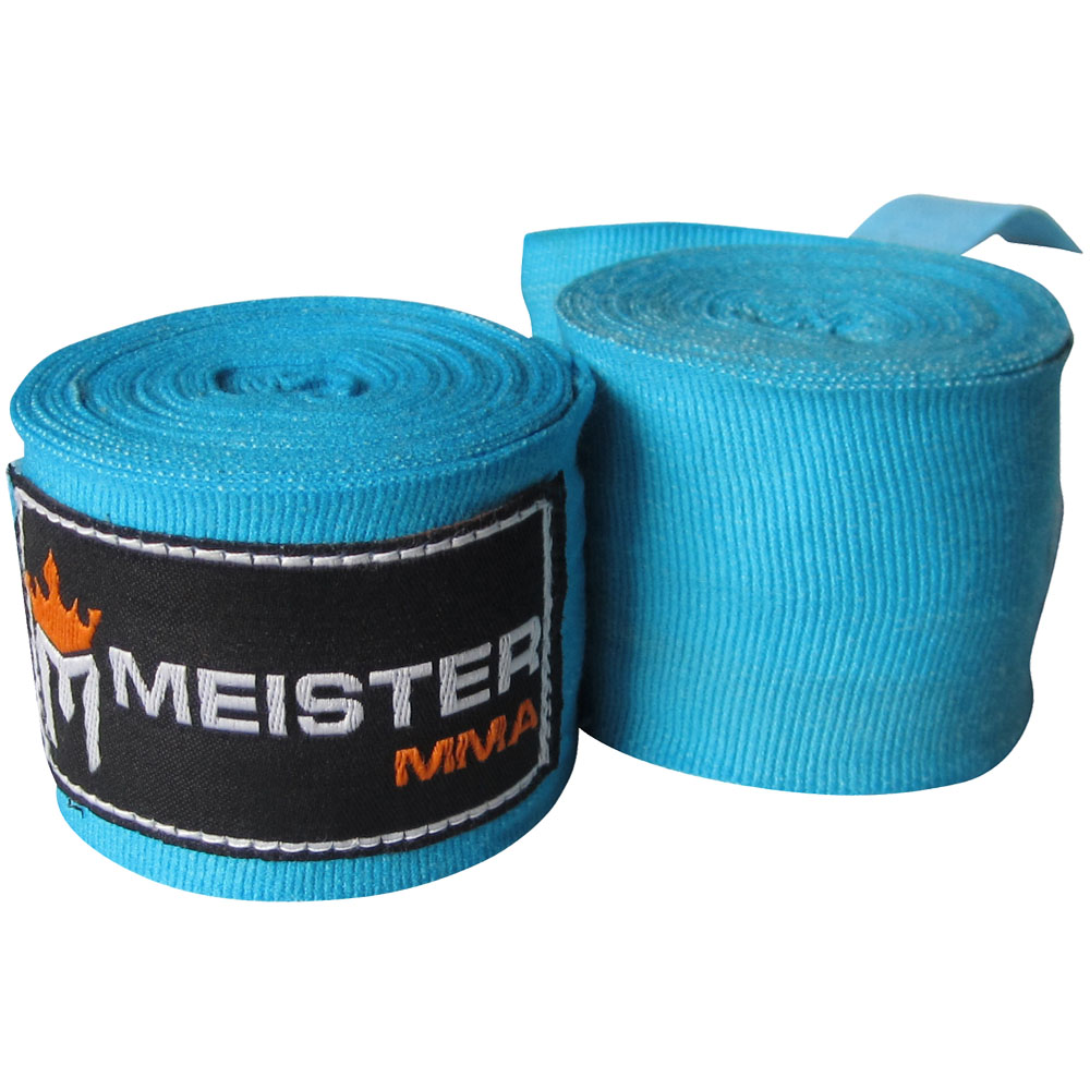 "Meister 180"" Semi-Elastic MMA Hand Wraps (Pair) - Turquoise"