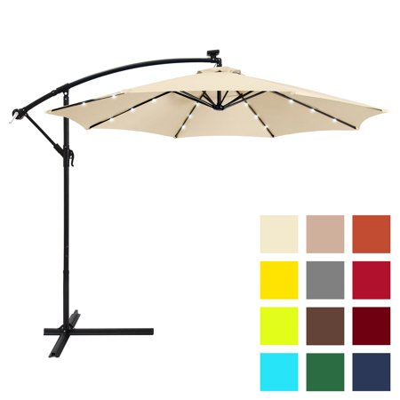 Best Choice Products 10-foot Solar LED Offset Hanging Polyester Market Patio Umbrella with Steel Frame and Easy Tilt Adjustment, Light Beige ()