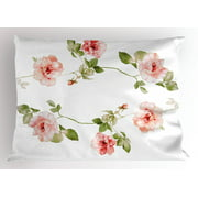 Floral Pillow Sham Romantic Rose Flower Petals Shabby Chic Kitsch Love Blooms Design, Decorative Standard Queen Size Printed Pillowcase, 30 X 20 Inches, Reseda Green Peach Coral, by Ambesonne
