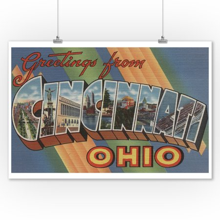 Greetings from Cincinnati, Ohio (9x12 Art Print, Wall Decor Travel Poster) ()