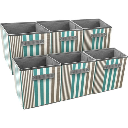 Pack Basket (Sorbus Foldable Storage Cube Basket Bin, 6 Pack, Vertical Stripe Line Pattern )