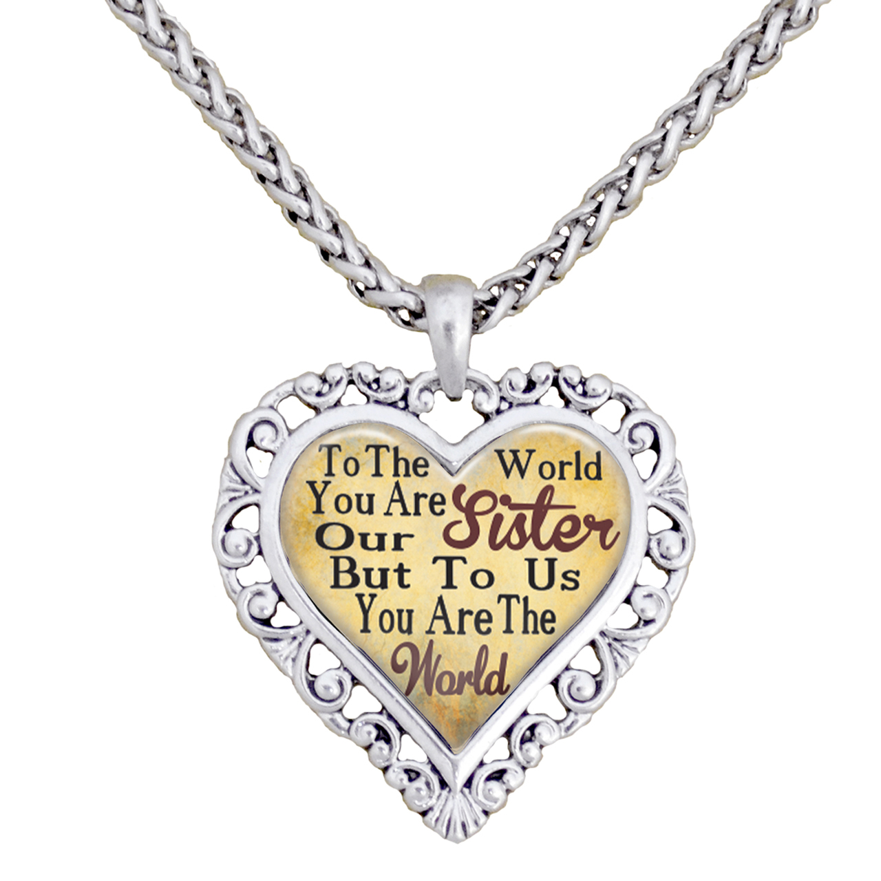 Sister You Are The World To Us Silver Chain Necklace Heart Jewelry