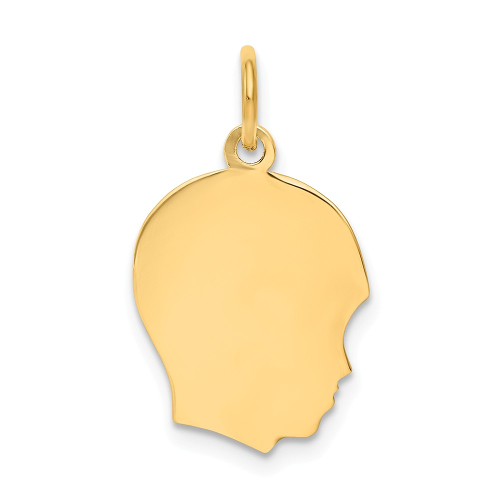 10k Yellow Gold Plain Medium 0.013 Gauge Facing Right Engravable Boy Head Charm (0.9in long x 0.5in wide)