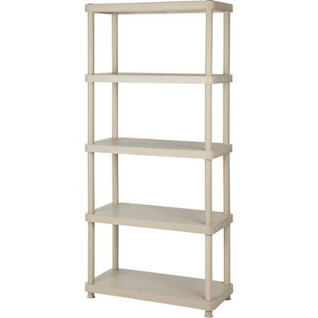 Keter Plastic 5-Tier Shelf, 16″ x 34″ Resin Shelving Unit, Sand