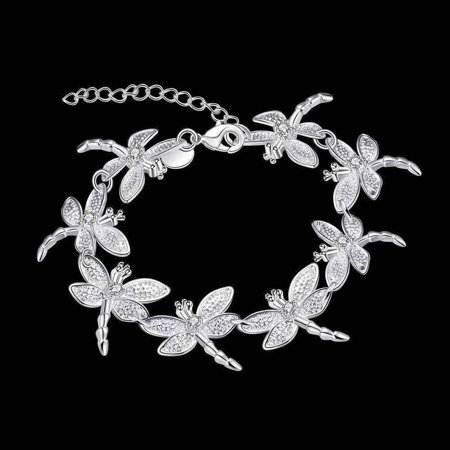 Dragonfly Chain Sterling Silver Bracelet Silver ()