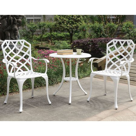 Furniture of America Amberley Trellis Outdoor Bistro Table Set by FOA White ()