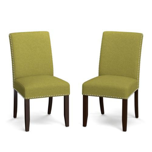 Portfolio madelyn green linen upholstered armless dining chairs set