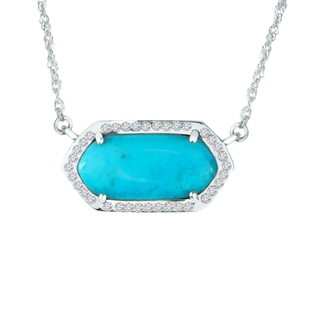 Sterlyn Silver Sterling Silver necklace with Arizona Stabilized Turquoise and Crystals by Overstock