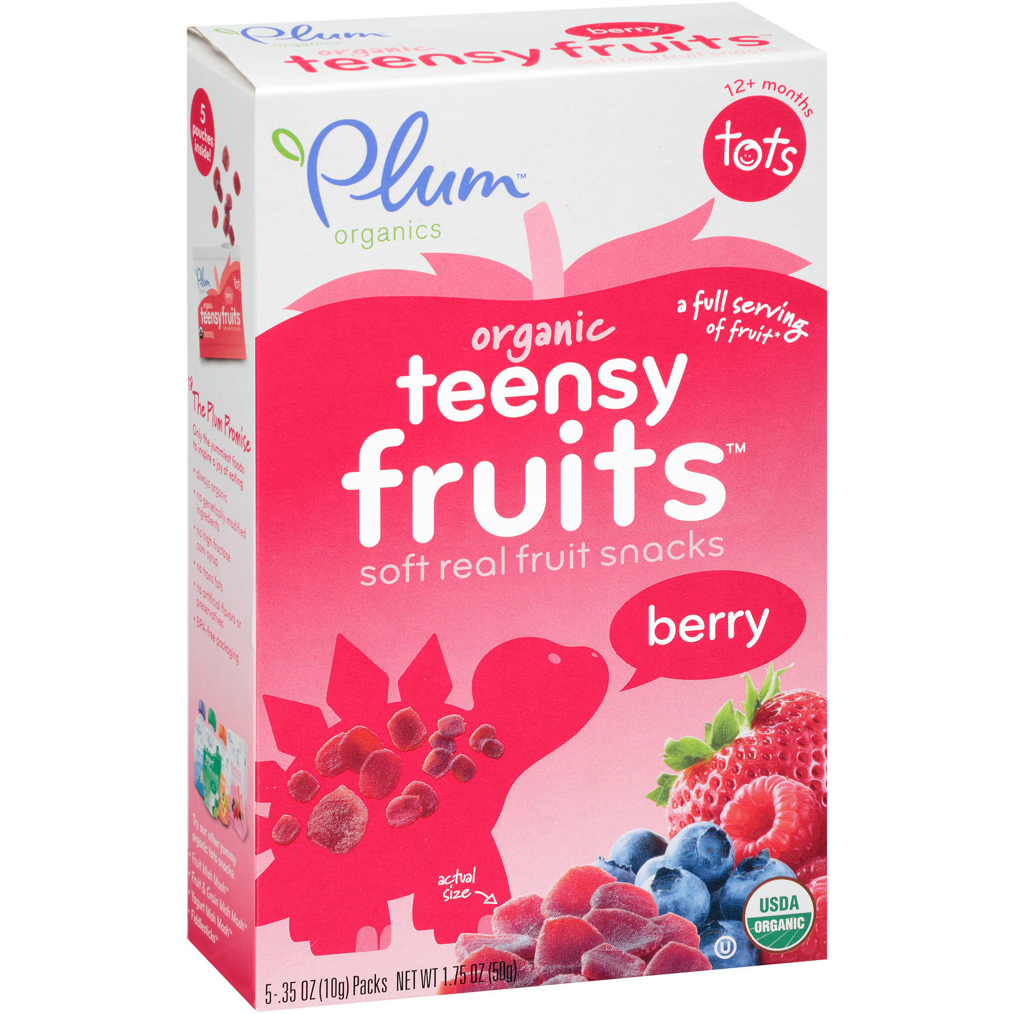 Plum Organics Tots Teensy Fruits Berry Soft Real Fruit Snacks, .35 oz, 5 count, (Pack of 8)