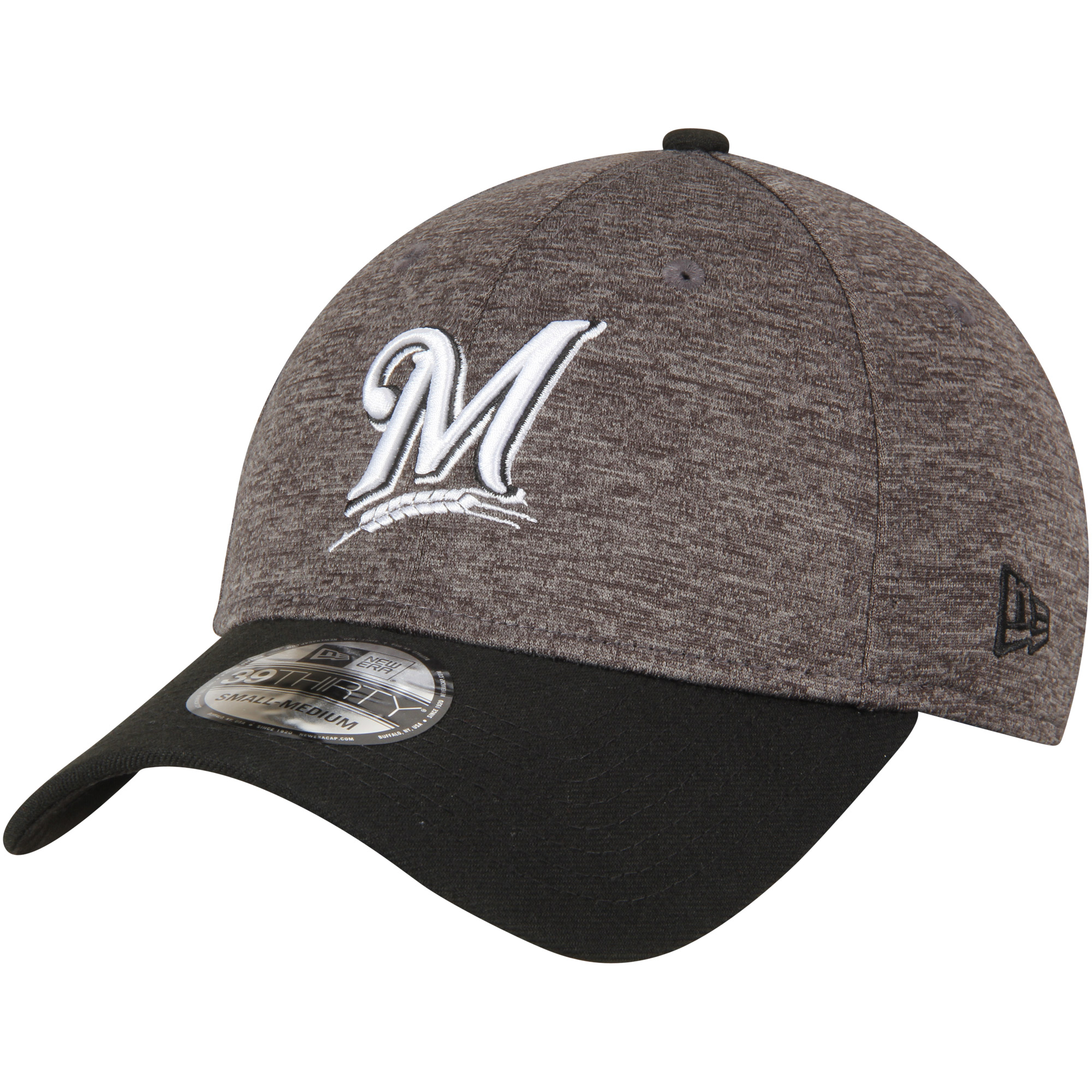 Milwaukee Brewers New Era Shadow Tech 39THIRTY Flex Hat - Heathered Gray/Black