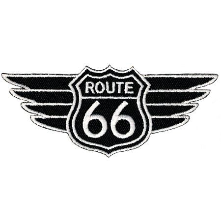 Black Route 66 Wings Embroidered Iron-On (Embroidered Wings)