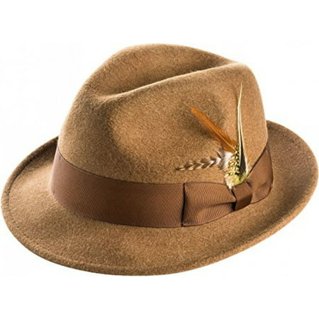- Montique Snap Brim Fedora Men's Felt Hat,Tan,Small