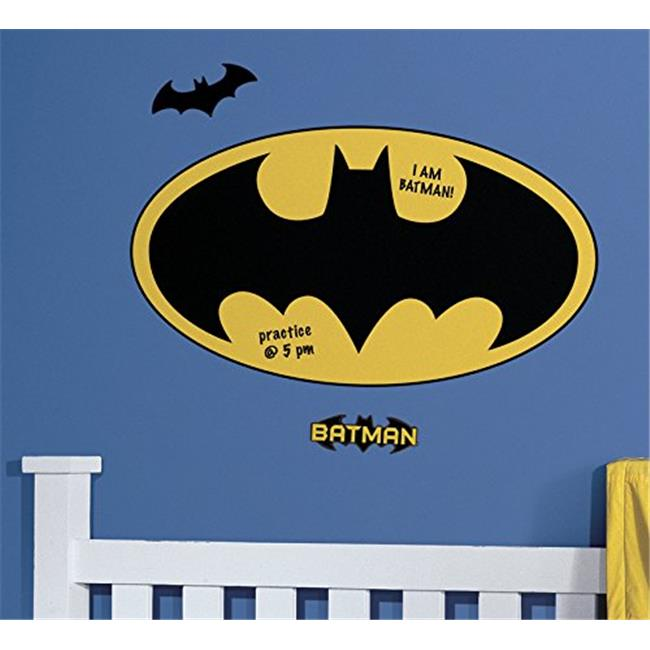 Room Mates RMK2623SLM Dry Erase Batman Logo Peel And Stick Giant Wall Decals