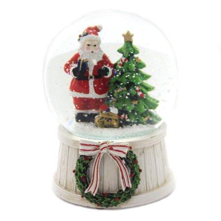 Christmas MUSICAL SANTA SNOW GLOBE Glass Gifts Tree Wreath ()